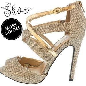 Gia Glitter Peep Toe Strappy Heels